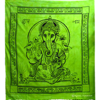 Yellow Hindu Lord Ganesha Tie-Dye Cotton Tapestry Wall Hanging