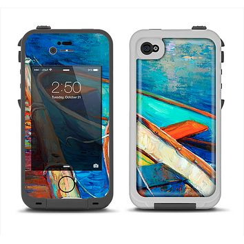 The Colorful Pastel Docked Boats Apple iPhone 4-4s LifeProof Fre Case Skin Set