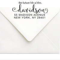 Future Mr and Mrs Stamp - Custom Wedding Stamp - Return Address Stamp - Custom Rubber RSVP Wedding Stamp for Bride & Groom - Engagement Gift