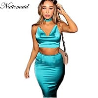 2017 Women 2 pieces dress sets New fashion style blue color bodycon dresses for  womens Satin matieral vestidos drop shipping