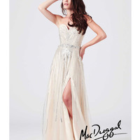 (PRE-ORDER) Mac Duggal 2014 Prom Dresses - Nude Sequin Strapless Prom Gown