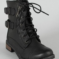 Bamboo Battle-03 Lace Up Military Combat Bootie