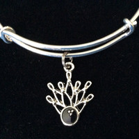 Bowling Ball with Bowling Pins Charm on a Silver Expandable Adjustable Bangle Bracelet Team Gift