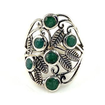 Emerald Topical Vine Sterling Silver Ring