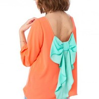 Coletta Bow Blouse in Neon Coral and Mint - ShopSosie.com