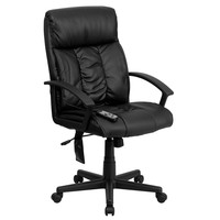 High Back Massaging Black Leather Executive Office Chair with Integrated Headrest