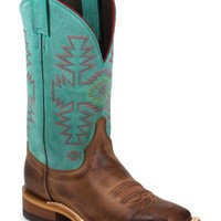 Justin Bent Rail Teal Cowhide Cowgirl Boots - Square Toe - Sheplers