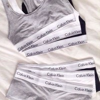 2 Pc Set Calvin Klein Tank Top Shorts Underwear Lingerie Set Bikini Swimwear Bra