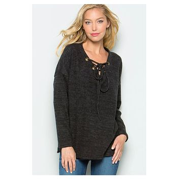 CYBER MONDAY! Lace Up V Neck Black Sweater Top