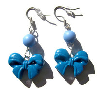 Blue Clay Bow Earrings  from Mizziexoxo Boutique