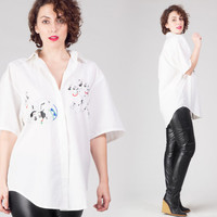 80s 101 Dalmatians White Shirt / Novelty Disney Embroidered Oversized Shirt / Rare Puppy Large L Shirt