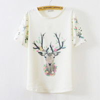 Deer Cartoon Print Scoop Neck Shirt Top Tee