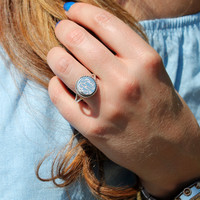 Monogrammed Sterling Silver Rope Ring - Circle