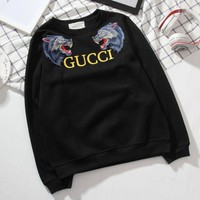 DCCKN6V ''GUCCI'�Women Men Thick Wolf Embroidery Round neck letters long sleeve sweater sweatshirts Black