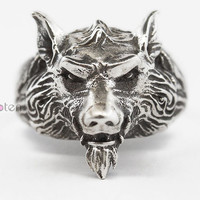 Wolf King ring,Wolf ring, Sterling silver ring ,Creative ring.weird ring.JZ038