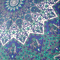 NEW Indian Star Mandala Large Double/Queen Bed Throw Tapestry Wall Hanging Blanket Sheet Blue Green White Bohemian Hippie Style