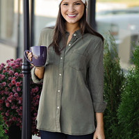 * Azura Button Down Top: Olive
