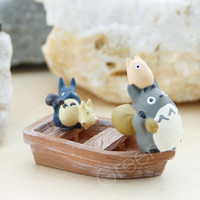 Valentines Day Gift/ Totoro/ miniature/ figurine/ Home Decor/ terrarium accessory/ miniature boat/ miyazaki/ studio ghibli - Full Set 3 pcs