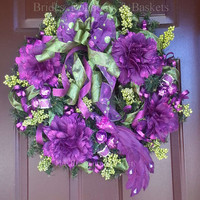 Christmas Wreath, Purple, Pink and Lime Green Holiday Wreath, Christmas Peacock Wreath, Christmas Decor, Holiday Decorations.