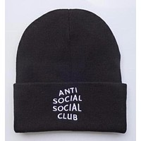 Anti Social Social Club Embroidered Winter Warm Mens & Womens Black Cuffed Skully Hat