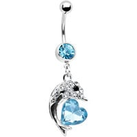 Aqua Crystal Heart Dolphin Belly Ring | Body Candy Body Jewelry