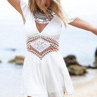 White V-Neck Backless Ruffled Sleeve Crochet Culottes Romper