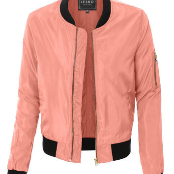 LE3NO Womens Lightweight Zip Up Varsity Bomber Jacket with Pockets (CLEARANCE)