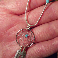 Dream Catcher Necklace - Delicate Turquoise and Silver Vintage Necklace - Tribal, Southwest Look, Gift Idea