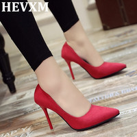 HEVXM Cheap Hot 2017 Pointed High Heels Fine With Shallow Mouth Woman Shoes Suede Fashion Black Professional Shoes Wedding Shoes