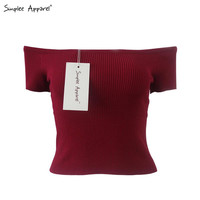 Simplee Apparel Sexy off shoulder knitted tops Women pullover 90's elastic crop top elegant female black autumn tank top