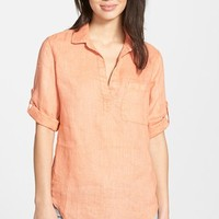 Women's Side Stitch Linen Shirt