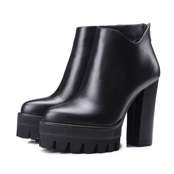 Genuine leather platform increased thick extreme high heel women ankle boots solid classic zip chelsea boot work brand shoe