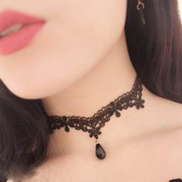 NEW Crystal Pendant Necklaces Water Drop Opal Sexy Lace Choker Necklace Tattoo Velvet chocker Ras Du Cou Clavicle Collar Jewelry