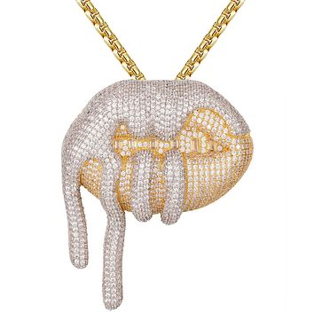 Two Tone Drooling Dripping Lips Baguette Rapper Pendant