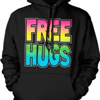 Free Hugs Rainbow and Silver Mens Sweatshirt, Funny Trendy Sexy Bright Statements Pullover Hoodie, Large, Black