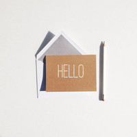 Hello - A2 Blank Greeting Card - Kraft Tan / Brown and white with a lined envelope. Minimal - Note Card - Hand printed Handmade Card Simple