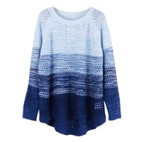 ZLYC Women's Gradient Color Stripe Loose Pullover Knit Sweater (Blue):Amazon:Clothing