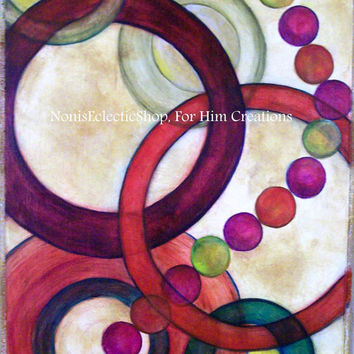 """ABSTRACT PAINTING, Original Abstract Painting,""""Connections"""" - Circles of Fun - Greens, Gold, Burgandy, Red, Earthtones"""