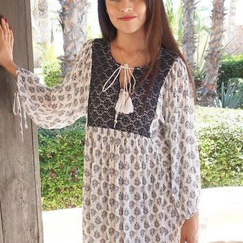 I Can See It Now Cream Print Swing Dress