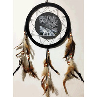 3D Lenticular Dream Catcher Wolf Design 10 inch with  Feathers