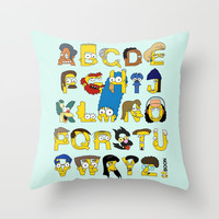 Simpsons Alphabet Throw Pillow by Mike Boon