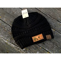 Black Beanie Hat with Cactus and Sun Tooled Leather Patch Hat