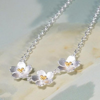 womens unique silver floral necklace gift 70