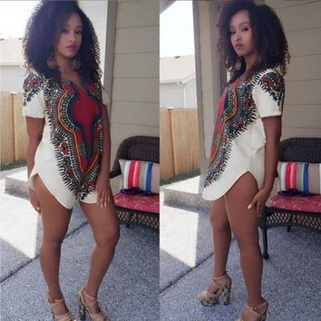Attractive 2016 New Trendy Women Traditional Tribal African Dashiki Party Hippie Dress High Quality #3546