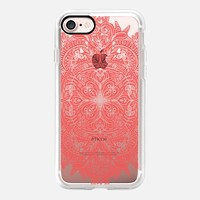 Vintage Coral Red Doodle on Transparent iPhone 7 Case by Micklyn Le Feuvre | Casetify