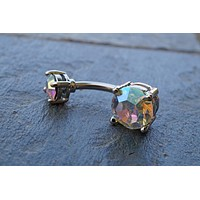 Belly Button Ring Aurora Borealis Crystals