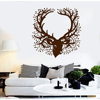 Vinyl Wall Decal Deer Head Beautiful Branch Hunting Horn Stickers (2276ig)