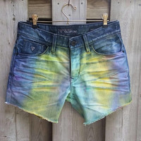 Ombre Guess Jean Short's, Men's US Size 30, Women's, Girl's, Cut Offs, Designer, Frayed, Festival Shorts, Rave Shorts, Dip Dyed Tie Dye