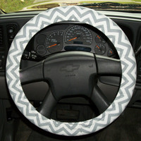 Pretty Grey and White Chevron Print  - Custom Handmade Steering Wheel Cover - Bow Not Included