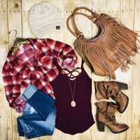 Penny Plaid Flannel Top: Burgundy/Taupe